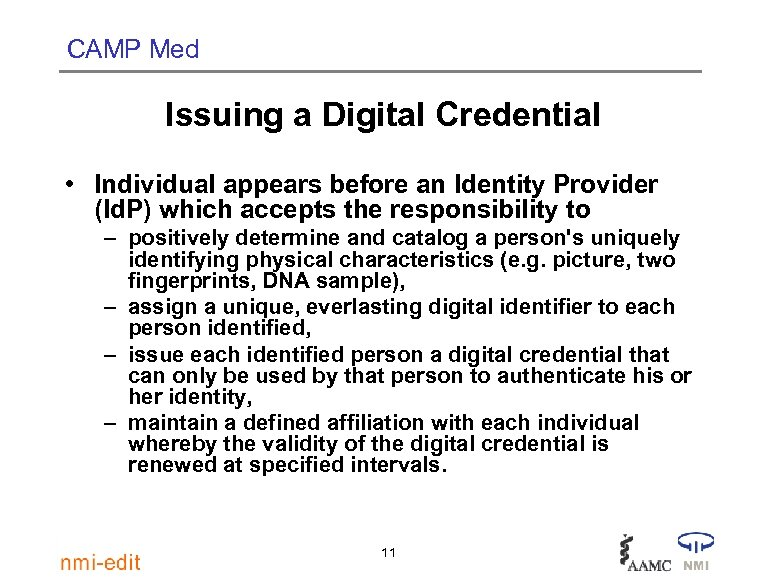 CAMP Med Issuing a Digital Credential • Individual appears before an Identity Provider (Id.