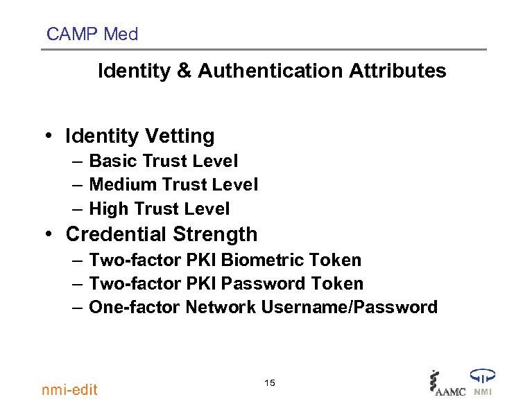 CAMP Med Identity & Authentication Attributes • Identity Vetting – Basic Trust Level –
