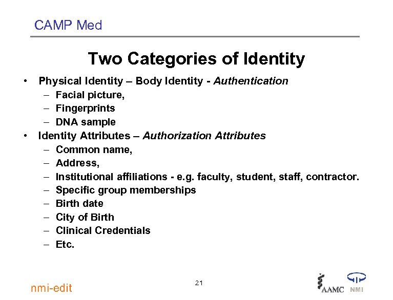 CAMP Med Two Categories of Identity • Physical Identity – Body Identity - Authentication