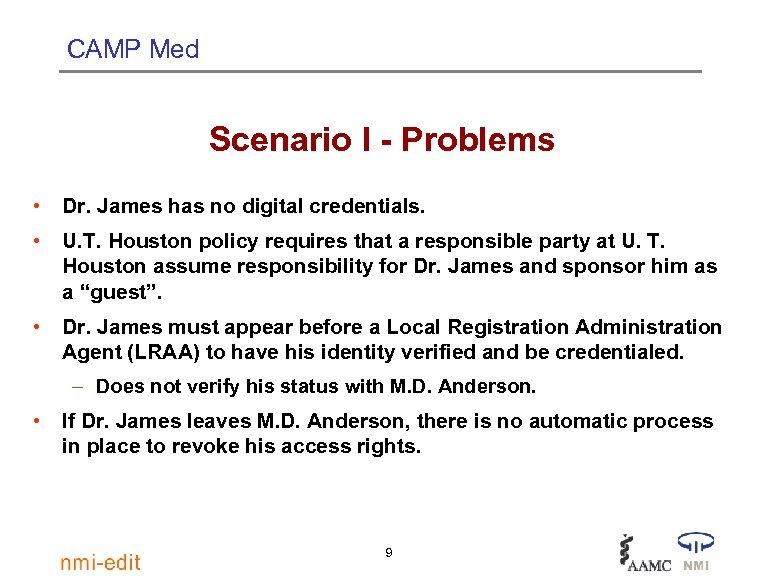 CAMP Med Scenario I - Problems • Dr. James has no digital credentials. •
