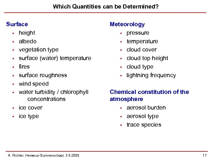 Which Quantities can be Determined? Surface § height § albedo § vegetation type §