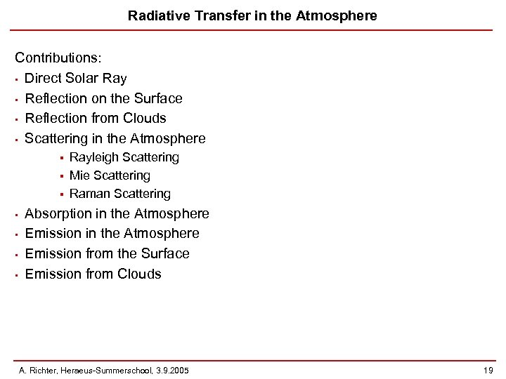 Radiative Transfer in the Atmosphere Contributions: • Direct Solar Ray • Reflection on the