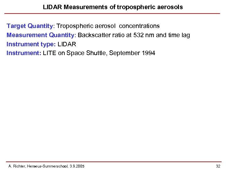 LIDAR Measurements of tropospheric aerosols Target Quantity: Tropospheric aerosol concentrations Measurement Quantity: Backscatter ratio