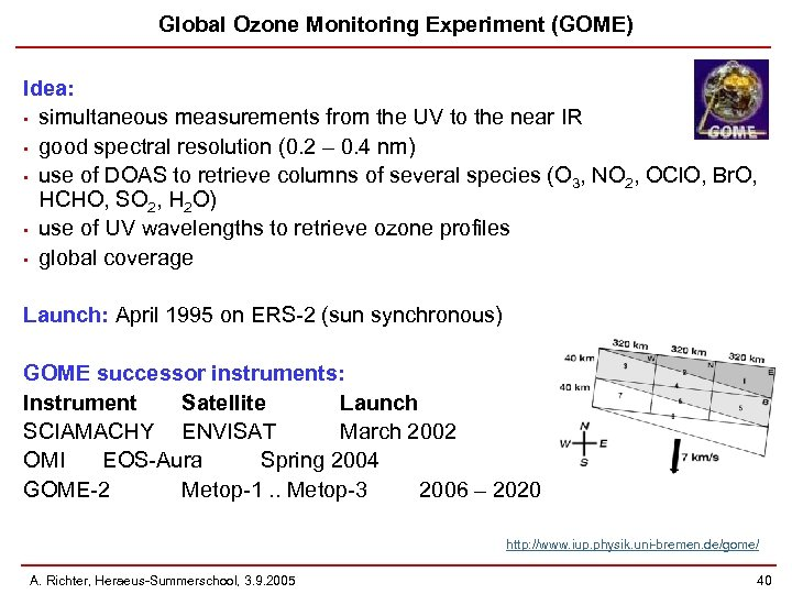 Global Ozone Monitoring Experiment (GOME) Idea: • simultaneous measurements from the UV to the