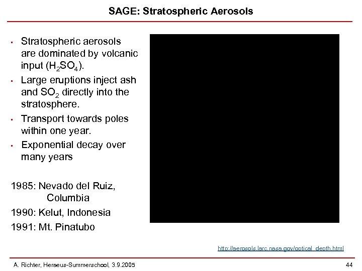 SAGE: Stratospheric Aerosols • • Stratospheric aerosols are dominated by volcanic input (H 2