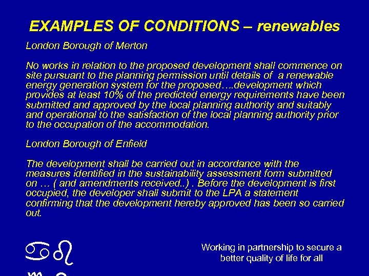 EXAMPLES OF CONDITIONS – renewables London Borough of Merton No works in relation to