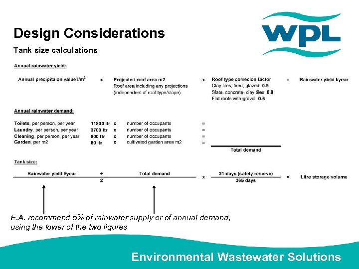 Design Considerations Tank size calculations E. A. recommend 5% of rainwater supply or of