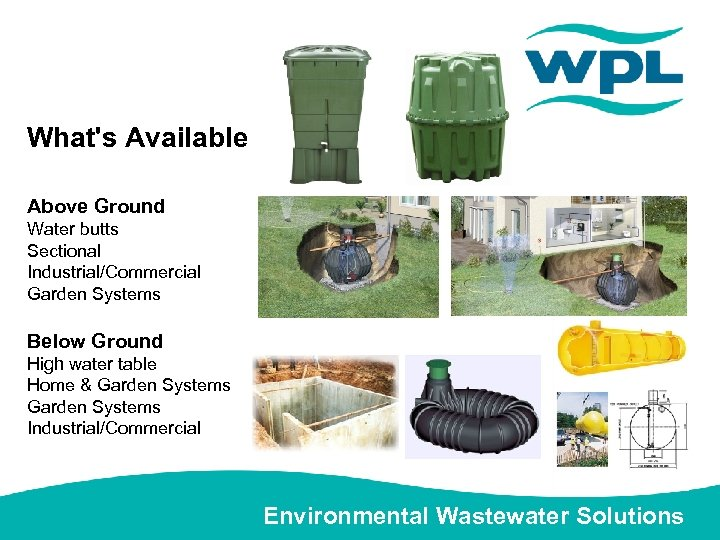 What's Available Above Ground Water butts Sectional Industrial/Commercial Garden Systems Below Ground High water