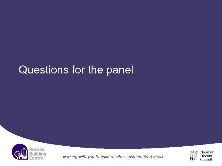 Questions for the panel working with you to build a safer, sustainable Sussex