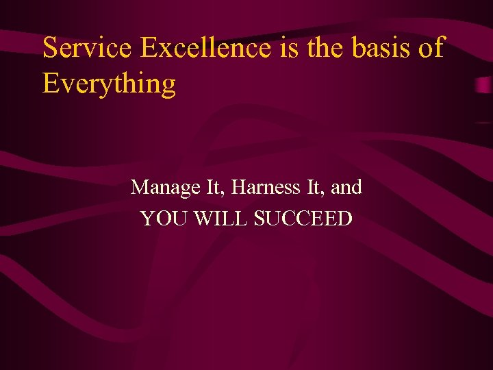 Service Excellence is the basis of Everything Manage It, Harness It, and YOU WILL