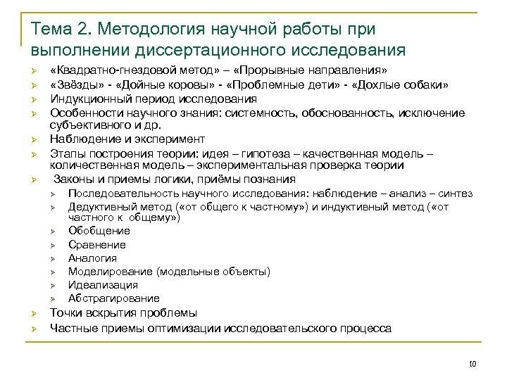 Тема 2. Методология научной работы при выполнении диссертационного исследования Ø Ø Ø Ø «Квадратно-гнездовой