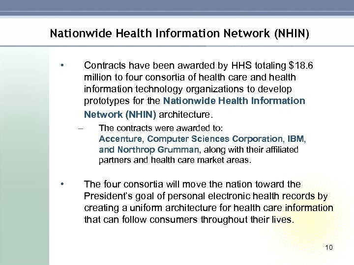 Nationwide Health Information Network (NHIN) • Contracts have been awarded by HHS totaling $18.