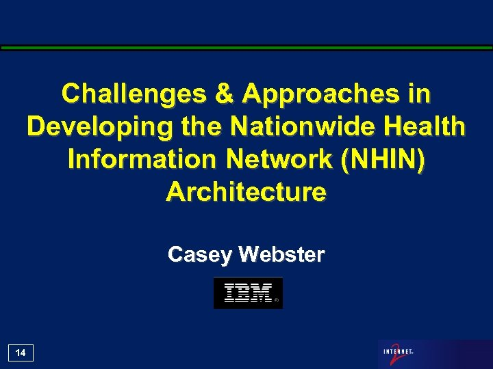 Challenges & Approaches in Developing the Nationwide Health Information Network (NHIN) Architecture Casey Webster