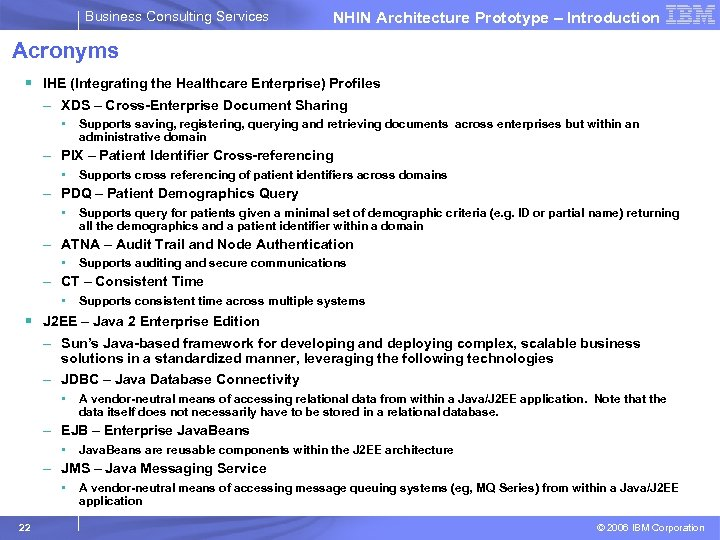 Business Consulting Services NHIN Architecture Prototype – Introduction Acronyms § IHE (Integrating the Healthcare
