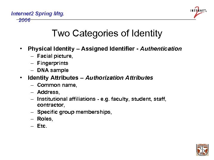 Internet 2 Spring Mtg. 2006 Two Categories of Identity • Physical Identity – Assigned