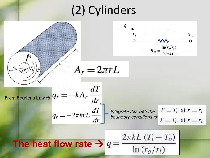 (2) Cylinders From Fourier's Law Integrate this with the boundary conditions The heat flow