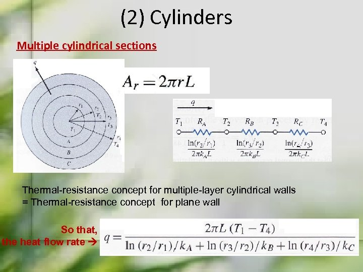 (2) Cylinders Multiple cylindrical sections Thermal-resistance concept for multiple-layer cylindrical walls = Thermal-resistance concept