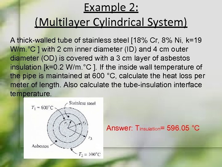 Example 2: (Multilayer Cylindrical System) A thick-walled tube of stainless steel [18% Cr, 8%