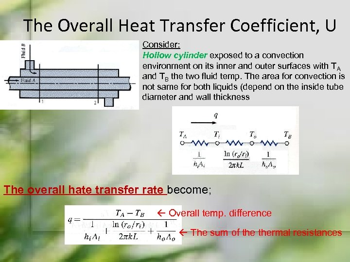 The Overall Heat Transfer Coefficient, U Consider: Hollow cylinder exposed to a convection environment