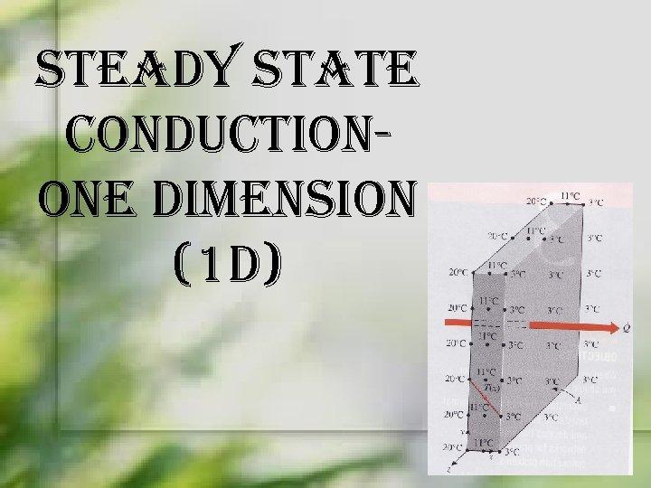 steady state conductionone dimension (1 d)