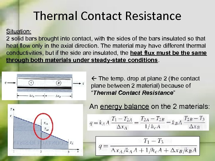 Thermal Contact Resistance Situation: 2 solid bars brought into contact, with the sides of