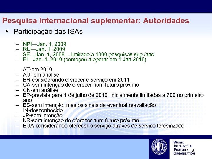 Pesquisa internacional suplementar: Autoridades • Participação das ISAs – – NPI—Jan. 1, 2009 RU—Jan.