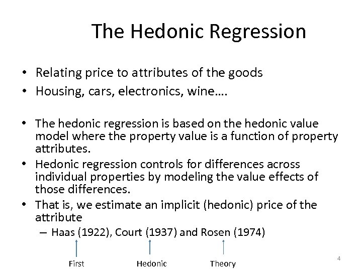 The Hedonic Regression • Relating price to attributes of the goods • Housing, cars,
