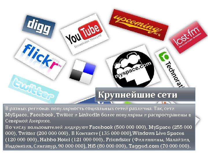 Крупнейшие сети В разных регионах популярность социальных сетей различна. Так, сети My. Space, Facebook,
