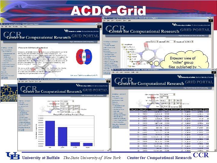 """ACDC-Grid Browser view of """"miller"""" group files published by user """"rappleye"""" University at Buffalo"""