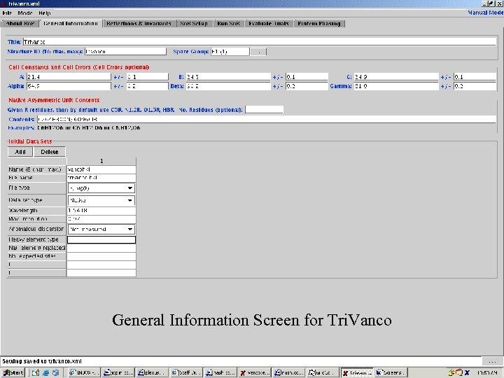 Screenshots 1 General Information Screen for Tri. Vanco