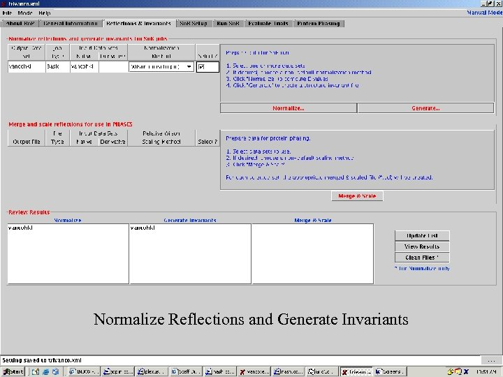 Screenshots 1 Normalize Reflections and Generate Invariants