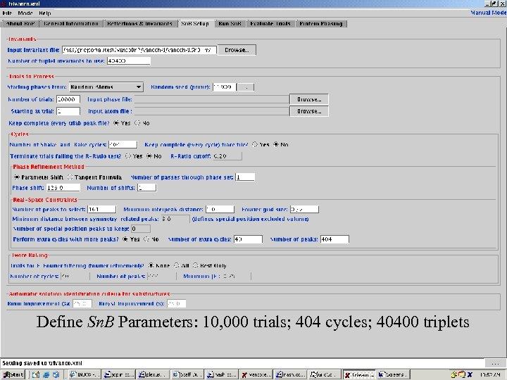 Screenshots 1 Define Sn. B Parameters: 10, 000 trials; 404 cycles; 40400 triplets