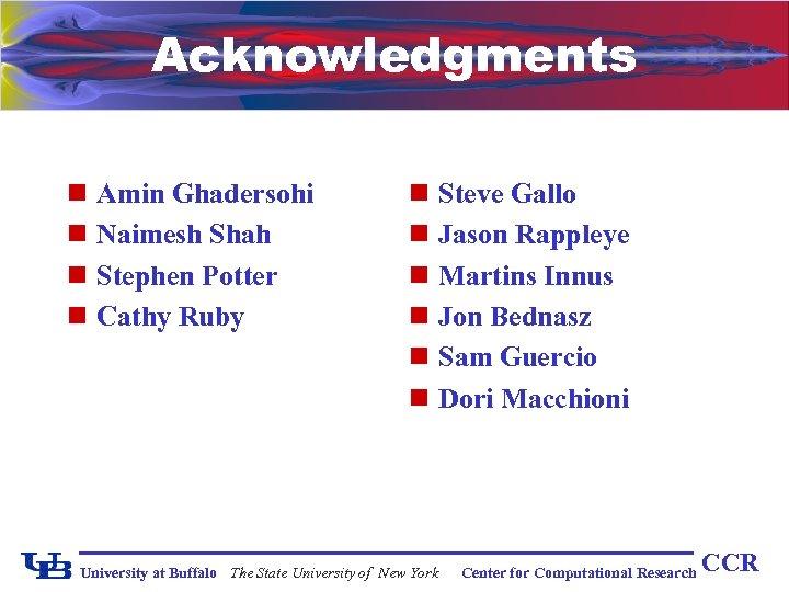 Acknowledgments n Amin Ghadersohi n Naimesh Shah n Stephen Potter n Cathy Ruby n