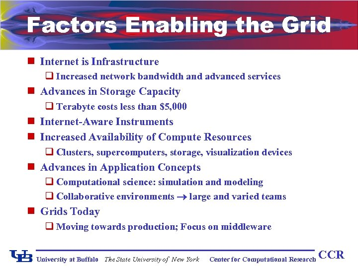 Factors Enabling the Grid n Internet is Infrastructure q Increased network bandwidth and advanced