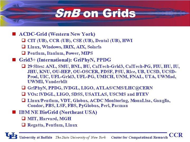 Sn. B on Grids n ACDC-Grid (Western New York) q CIT (UB), CCR (UB),