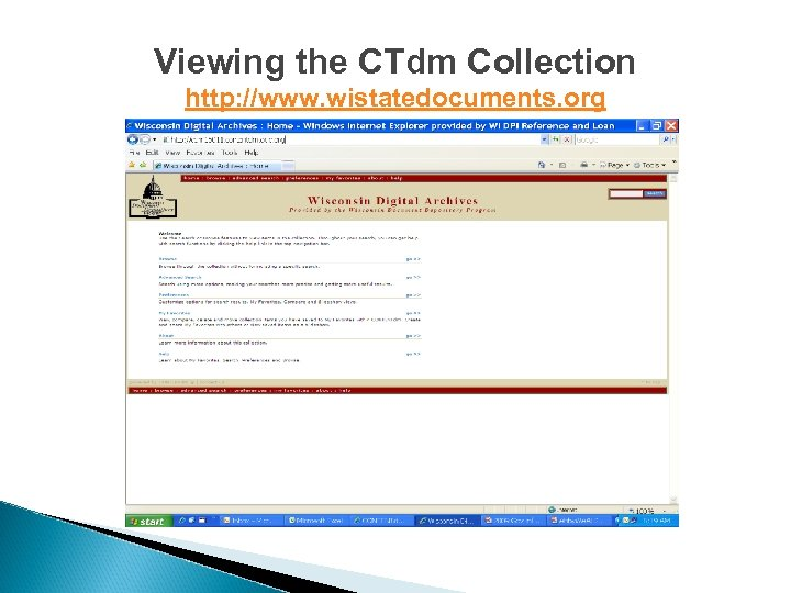 Viewing the CTdm Collection http: //www. wistatedocuments. org