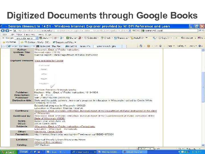 Digitized Documents through Google Books