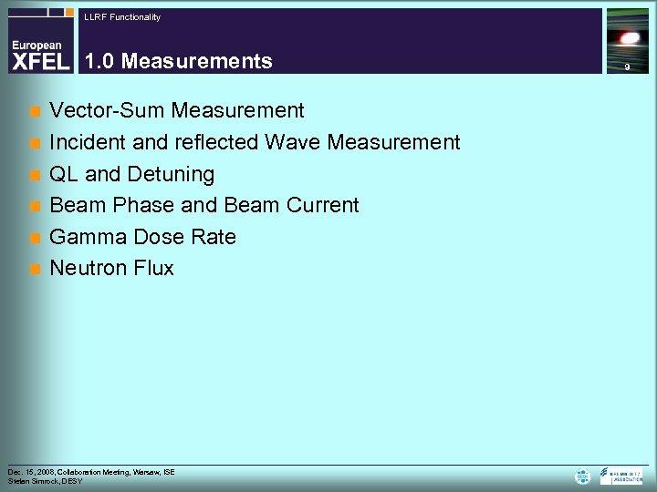 LLRF Functionality 1. 0 Measurements n n n Vector-Sum Measurement Incident and reflected Wave