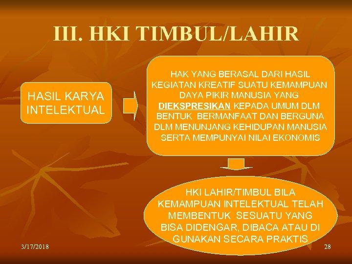 III. HKI TIMBUL/LAHIR HASIL KARYA INTELEKTUAL 3/17/2018 HAK YANG BERASAL DARI HASIL KEGIATAN KREATIF