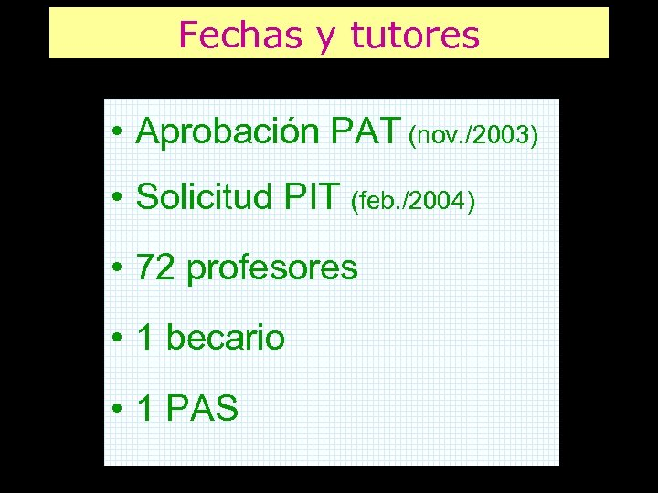 Fechas y tutores • Aprobación PAT (nov. /2003) • Solicitud PIT (feb. /2004) •