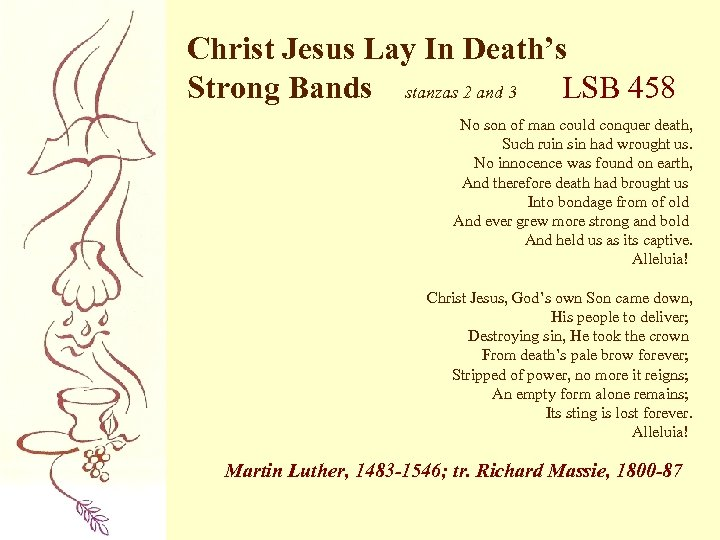 Christ Jesus Lay In Death's Strong Bands stanzas 2 and 3 LSB 458 No