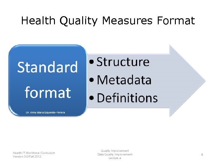 Health Quality Measures Format • Support MU as described by the American Recovery and