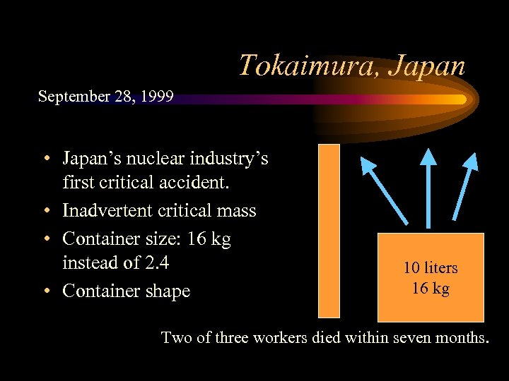 Tokaimura, Japan September 28, 1999 • Japan's nuclear industry's first critical accident. • Inadvertent
