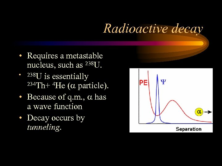 Radioactive decay • Requires a metastable nucleus, such as 238 U. • 238 U