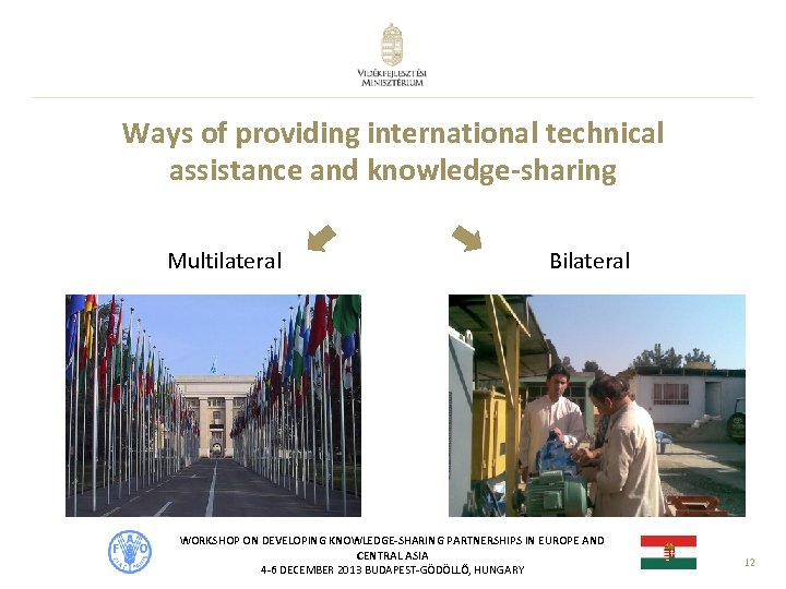 Ways of providing international technical assistance and knowledge-sharing Multilateral Bilateral WORKSHOP ON DEVELOPING KNOWLEDGE-SHARING