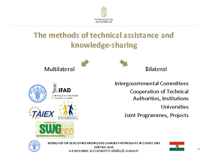 The methods of technical assistance and knowledge-sharing Multilateral Bilateral Intergovernmental Committees Cooperation of Technical