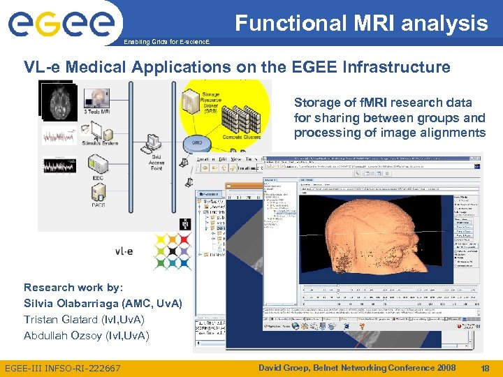 Functional MRI analysis Enabling Grids for E-scienc. E VL-e Medical Applications on the EGEE