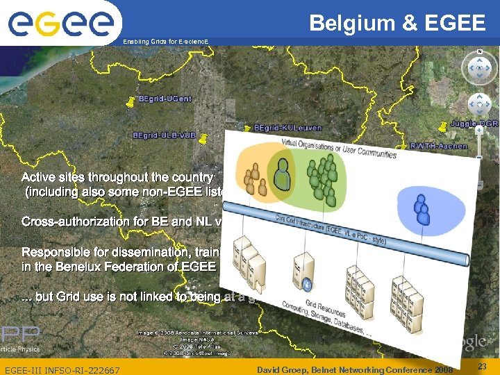Belgium & EGEE Enabling Grids for E-scienc. E Active sites throughout the country (including
