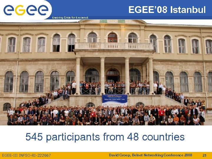 EGEE' 08 Istanbul Enabling Grids for E-scienc. E 545 participants from 48 countries EGEE-III