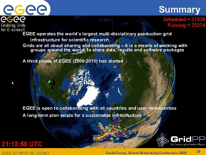 Summary Enabling Grids for E-scienc. E EGEE operates the world's largest multi-disciplinary production grid